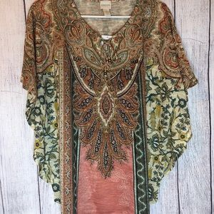 Paisley top with Flutter sleeve